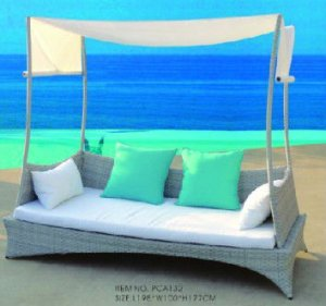 Rattan Hammock with Canopy