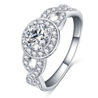 Top Quality Luxury CZ Cubic Zirconia Fine Jewelry Real 925 Sterling Silver Wedding Engagement Rings For Bridal