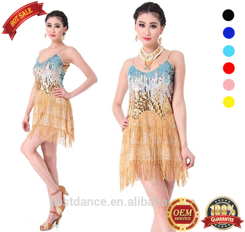BestDance 6 colors OME latin fringe tassel dance dress salsa dance dress for women