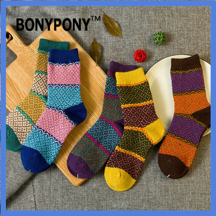 Bonypony free shipping wholesale women winter warm rabit wool socks women winter wool crew socks