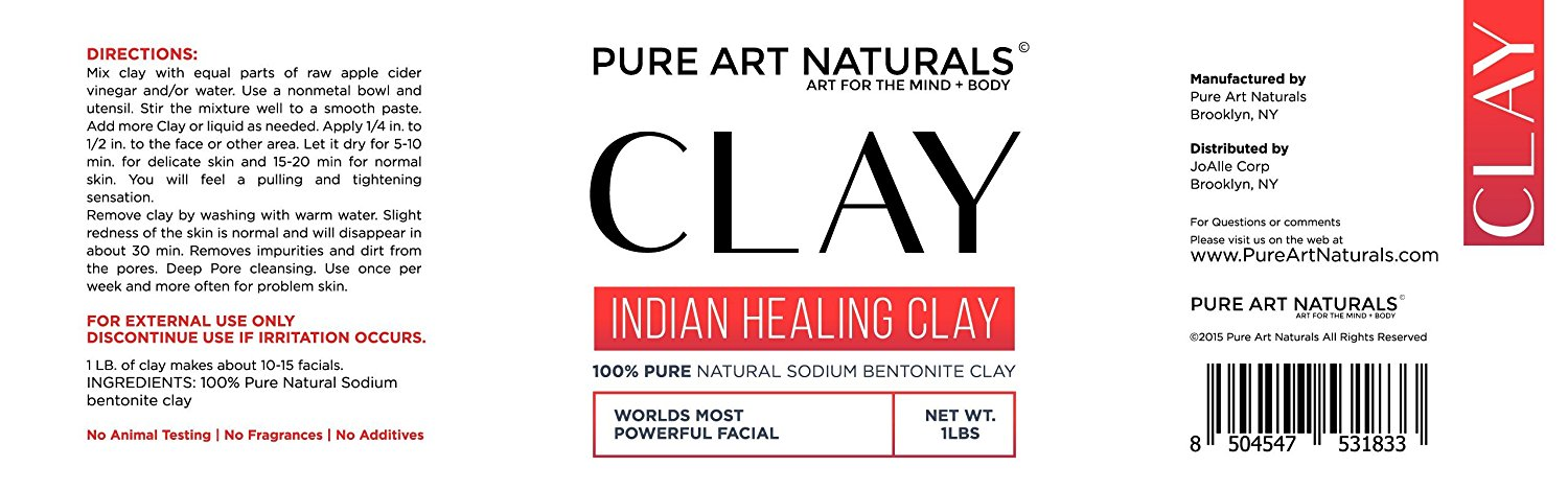 Bentonite Clay The Ultimate Indian Clay By Pure Art Naturals | Deep Pore Cleansing Facial & Body Mask | 100% Natural Bentonite Clay For Men & Women | Anti Acne Mask, Exfoliate & Detox Skin (2 PACK)