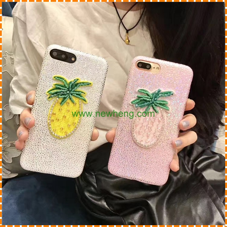New cute summer embroidery pineapple 3D phone case for iPhone 7 7 plus
