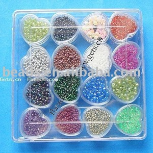 glass seed beads+plastic box