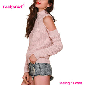 Customized Factory Price Guangzhou Sweater Factory Hand Knitted Pink Sweater