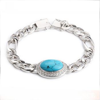 bracelet argent avec pierre turquoise