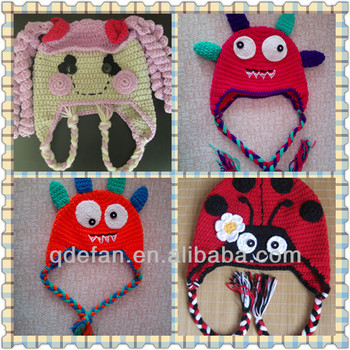 Cute Baby Crochet Monster Hat Crochet Lalaloopsy Hat Knitted Ladybug