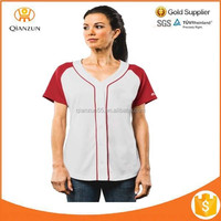 Button-front Jersey Raglan Red/White Short Sleeves Fashion Women's Jersey