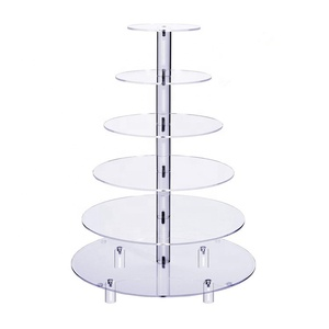 6 Tier Round Acrylic Cupcake Stand Clear Wedding Cake Display Customized Acrylic Display Stand