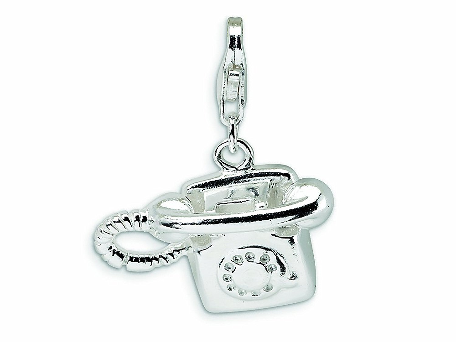 Amore LaVita Sterling Silver Polished Telephone Lobster Clasp Bracelet Charm