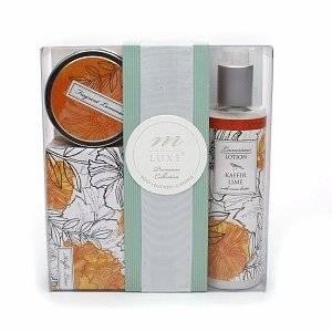 m LUXE by Mudlark Chloe Premium Bath Collection: Soap, Lotion, Candle, Kaffir Lime, 1 set