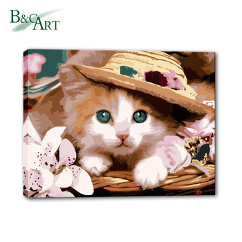 Easy Cat Oil Canvas Painting Pictures By Numbers Kits