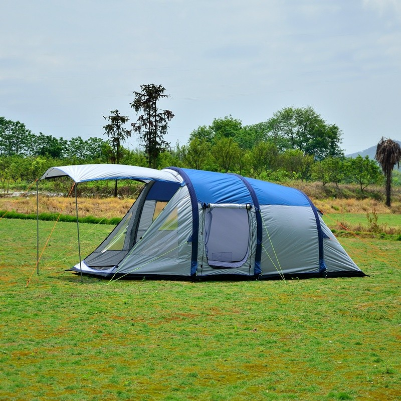 Double layers air tent with inflatable beams for family camping