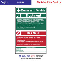 BURNS AND SCALDS TREAMENT Signs , pvc board safety signs high quatity First Aid Signs