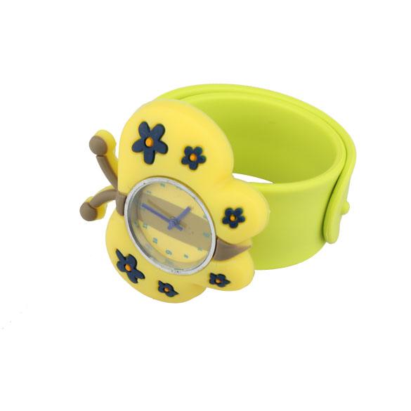 Digital Slap Watch Cute Butterfly Slap Wrist Watch for Kids Wristwatch Yellow
