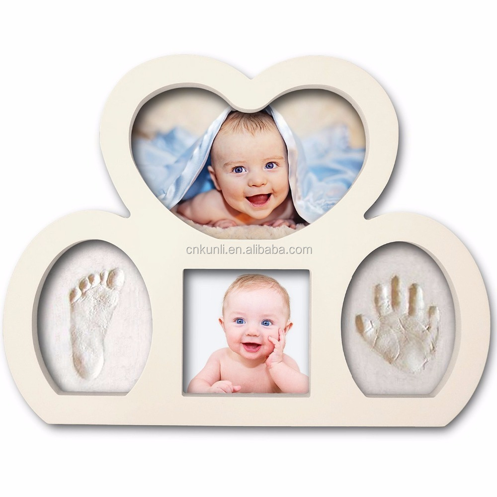 Deluxe Baby Handprint and Footprint Photo Frame Keepsake. 100% Baby Safe with Durable, Crack Resistant Clay