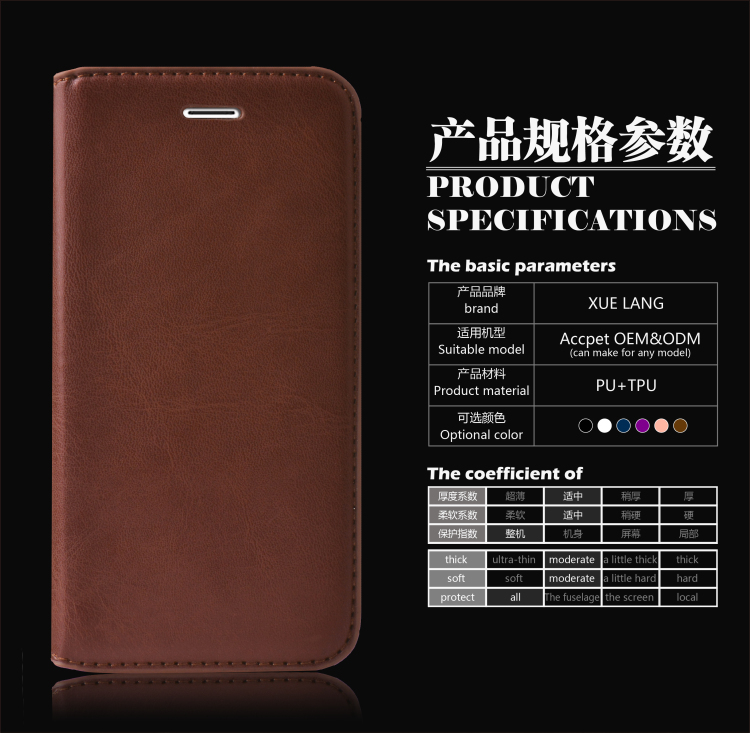 PU leather case for huawei honor 7 leather phone OEM/ODM custom-made cover