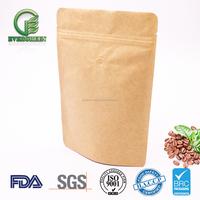 Eco friendly Custom Print Aluminum Foil Lined Brown Craft Paper Bag with zip lock