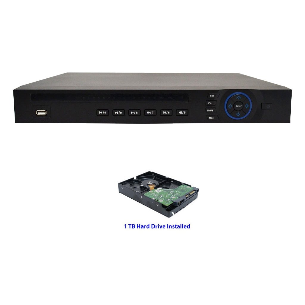 16 Channel TRIBRID Security DVR - CVI, Analog 2xIP - 1080p @15fps 720p/960H @30fps - 1TB Hard Drive