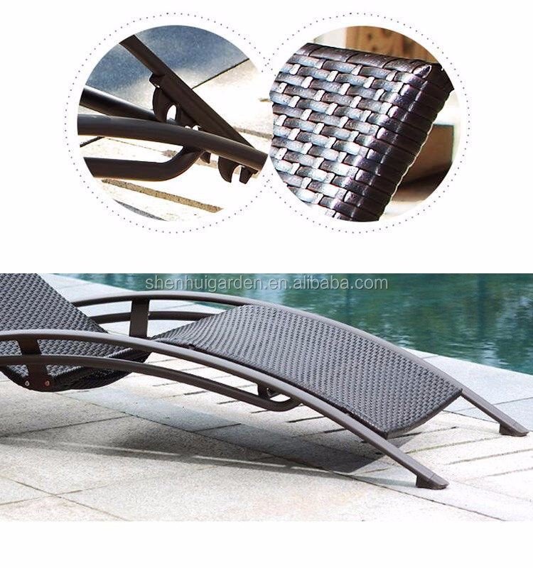 High quality aluminium f<em></em>rame outdoor lying bed with PE rattan beach and pool hotel chair