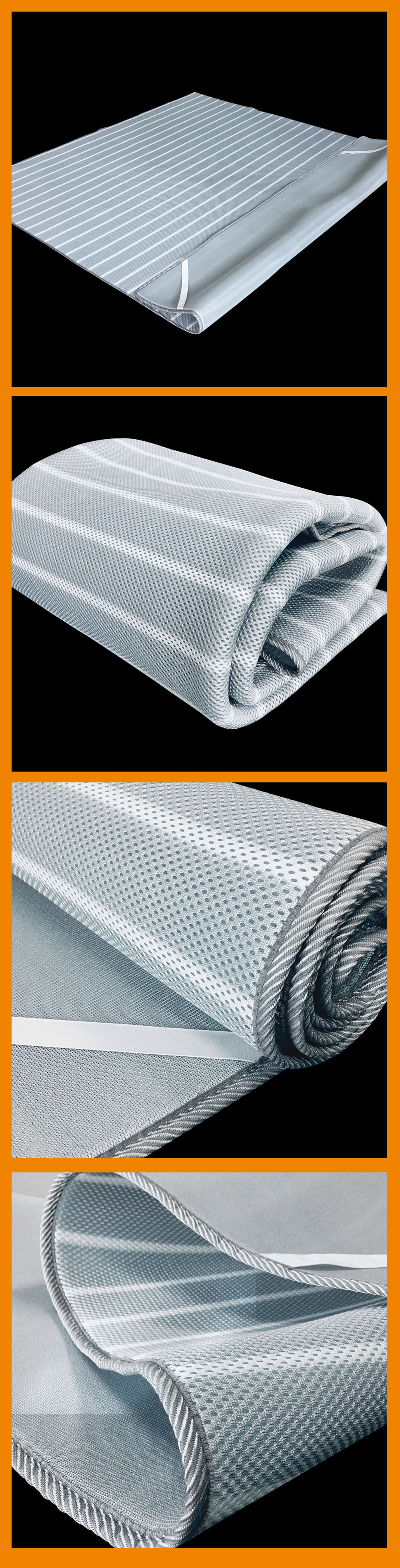 Popular light gray foldable 3d mesh spacer cooling breathable mattress bed topper pad