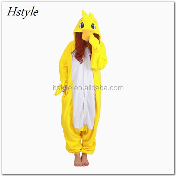 Small Yellow Duck Flannel Pajamas Men Women Siamese Sleepwear Thicken Adult Kids Lovers Warm Family Fitted Winter Animal DWY098