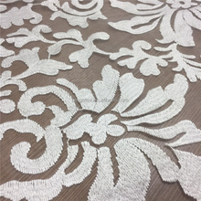 white embroidery tulle fabric with rayon thread
