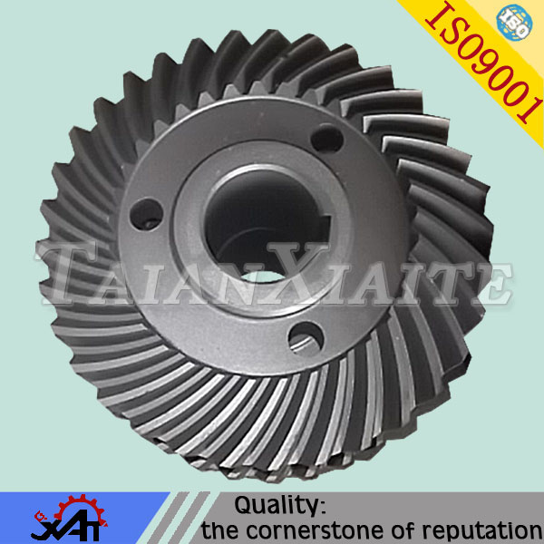 Custom metal forged spiral bevel gear for construction machinery spare part