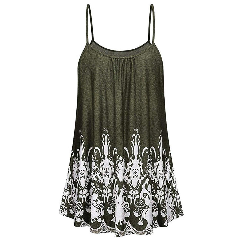 Siaokim Tops For Women Hot Sale Women Tunic Tops Fashion Print Shirt Sleeveless Vest Casual Camis Tank Blouse