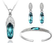 Brazalete Collar Pendientes Sets de joyería hechos con elementos marca warovski set para novia blaco dorado joyería aleación STZ0029