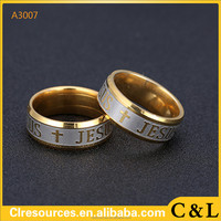 High quality large size Titanium Steel 18K silver gold plated jesus cross Letter bible wedding band ring men women