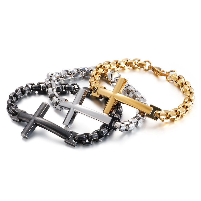 Simple titanium steel mens chunky chain sideways cross bracelet