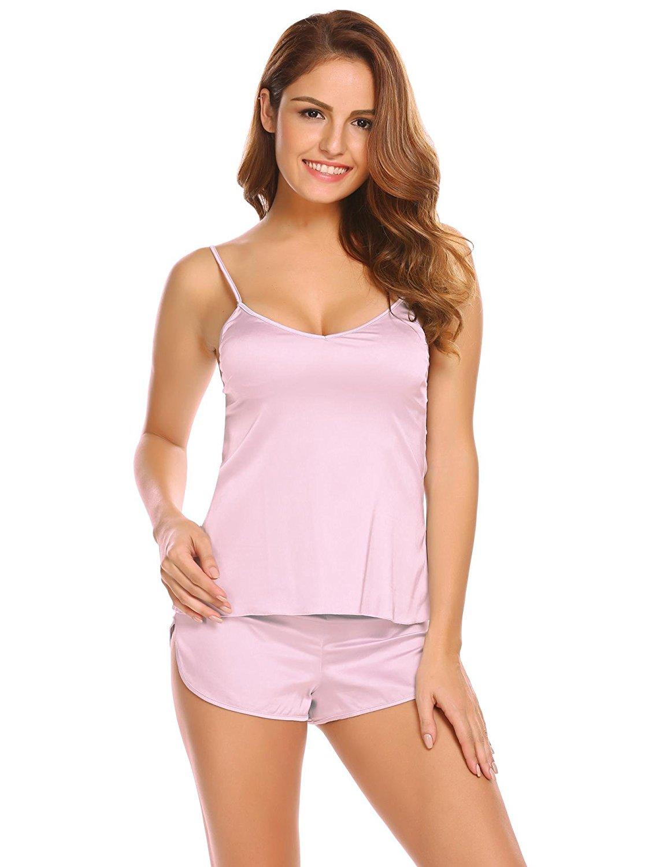 cf308ecd918b4 Get Quotations · Langle Women Beauty Cozy Sleepwear Solid Adjustable Strap Cami  Top   Shorts Satin Cami Pajama Set