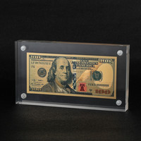 Hot Money Collection Currency 100 USD Gold Foil Banknott With Display Case