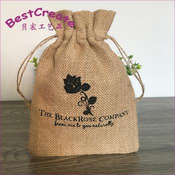 Custom Screen Printed Burlap Sacks Jute Drawstring Bags For Coffee Beans