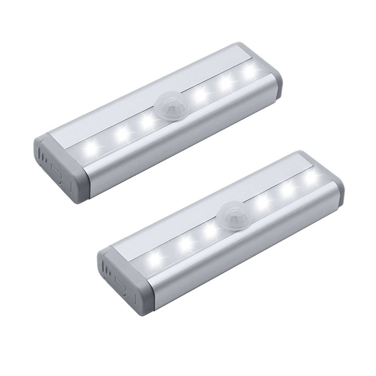 OHSMA Closet Lights 6 LEDs Mini Size Motion Sensor Night Light Wall Cabinets Lighting Closet Drawer Stairs Step with Security Light Bed Lights, Battery Powered(2-Pack)