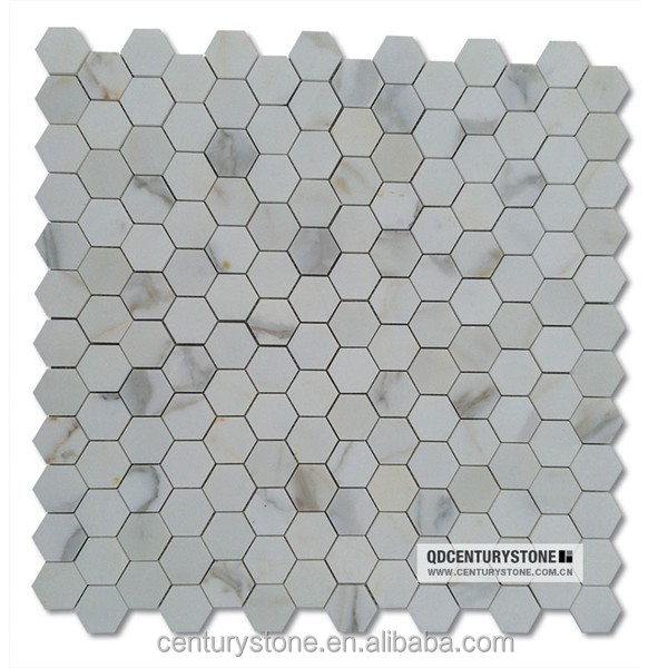 Blanc poli mosa ques de marbre calacatta or hexagone for Carrelage hexagonal marbre