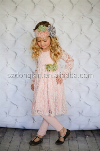 Girls Spring Pink Lace Crochet Long Sleeve Dress Outfit Kids Beautiful Princess Dresses