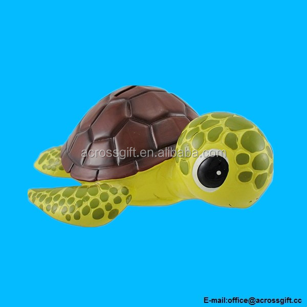 Bobble Head Sea Turtle Brown Shell Piggy Bank