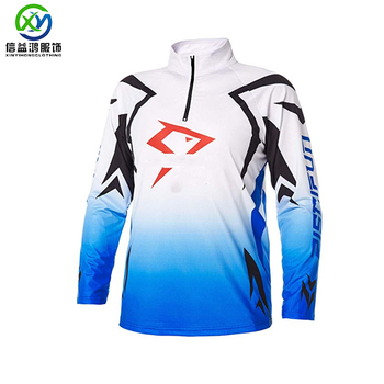 100% mesh sublimated printed your fish design men's 1/4 zipper fishing shirt