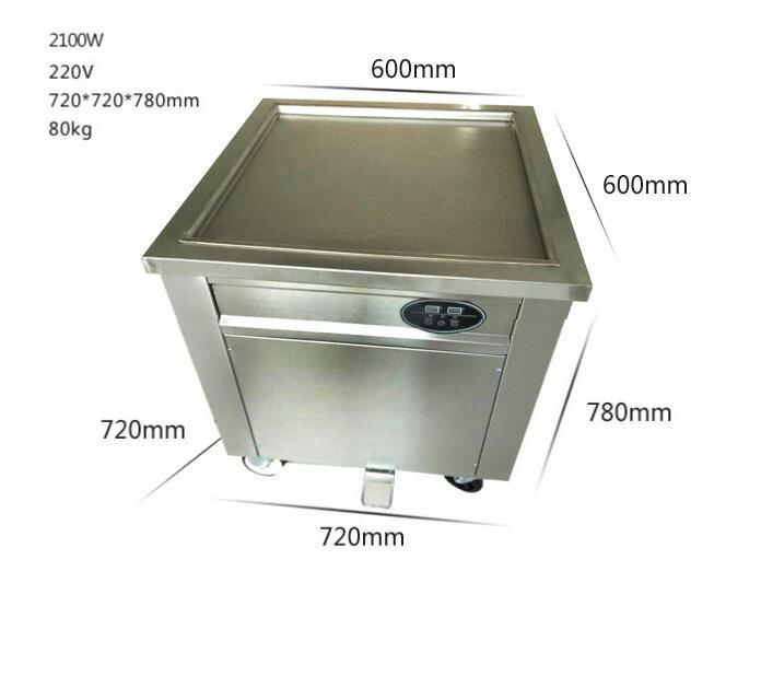 1 Single Square Round Roller Fryer Flat Pan Fried Ice Cream Roll Machine