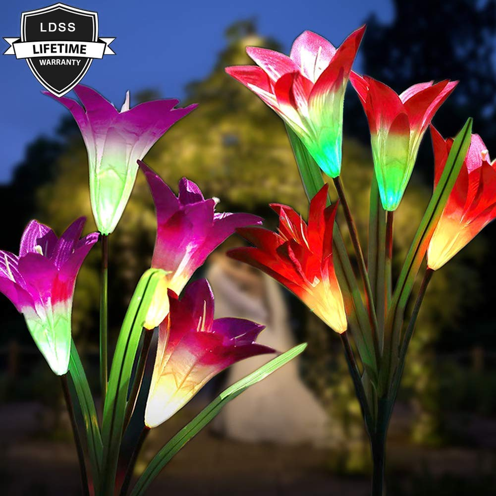 Solar Lights Outdoor,Solar Flower Lights,Solar Garden Lights, Multi Color Solar Flowers Light,Waterproof LED Garden Stakes Solar Powered Lillies Lights,Backyard,Lawn,Yard,Patio Decorations Lily Lights