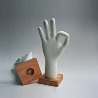 soft mannequin hand with wooden base for glove display flexible PU foam hand