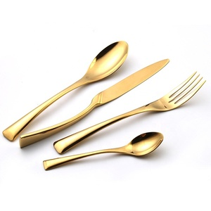 Royal Stainless Steel Gold Plated Copper Cutlery Flatware Set Restaurant Cutlery