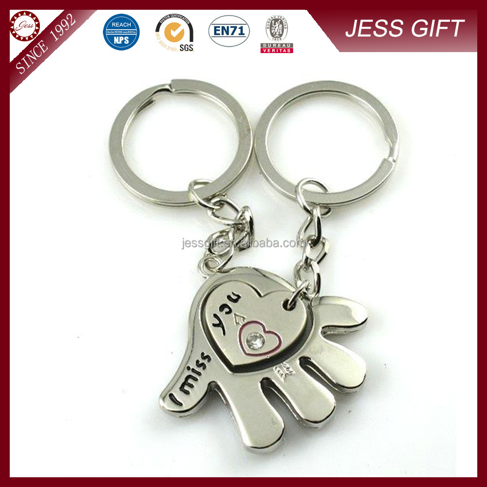 Fancy metal shaped key ring & keychain for lovers
