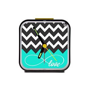 Love Infinity Forever Love Symbol Chevron Pattern Turquoise Black White Square Black Alarm Clock 100% Quartz