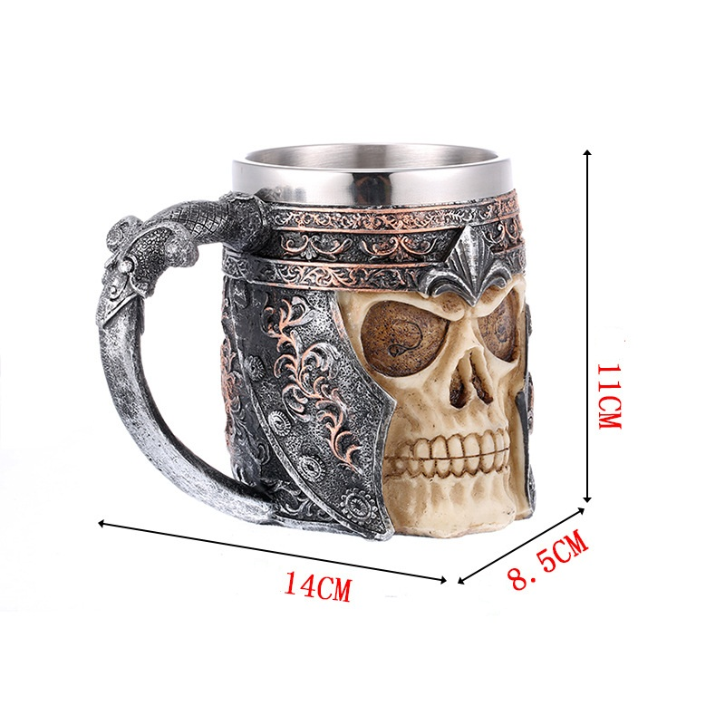 Zogift Novelty Halloween Bar Party KTV Theme Restaurant 3D Skeleton Cup with Handle for Beer Coffee Men