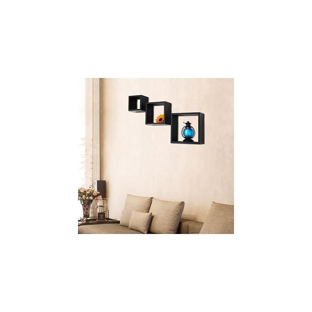 Adeco [WS0083] Decorative Home Decor Black Wood Floating Wall Shelves, Square, Set of 3