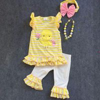 2016 Easter design new baby kids yellow strpies Easter girls outfits boutique clothing with matching headband and necklace set