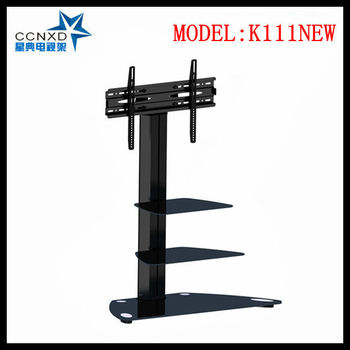 Swiveling Tv Wall Mount Stand Glass Shelves Fits 32\