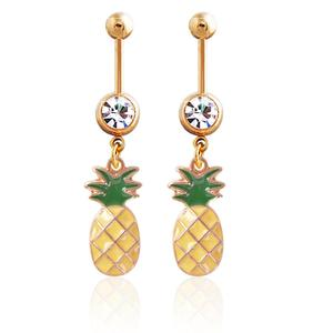 Wholesale Pineapple Dangle Belly Button Rings Stainless Steel Navel Rings Crystal Body Piercing Jewelry
